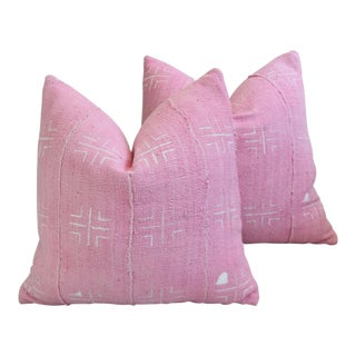 Pink/Ivory Mud Cloth & Velvet Feather/Down Pillows - Pair
