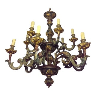 Large Painted Gesso & Wood 12-Light Chandelier
