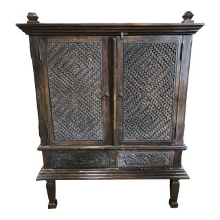 Boho Chic Rustic Carved Cabinet
