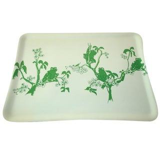 1970s Kelly Green Frog Bar Serving Tray
