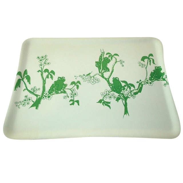 1970s Kelly Green Frog Bar Serving Tray - Image 1 of 3