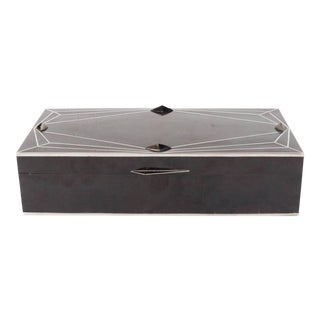 Exquisite Black Tab Shell Box with Silvered Inlay with Art Deco Diamond Design