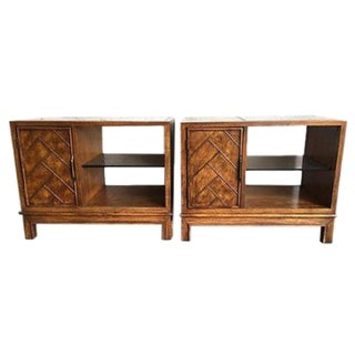 Wood & Glass Nightstands - A Pair
