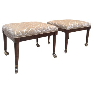 Walnut Ottomans With Brass Castors - A Pair