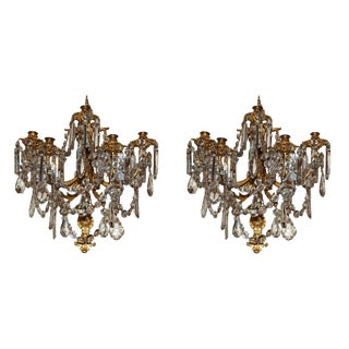 Exceptional French Dore Bronze & Crystal Sconces