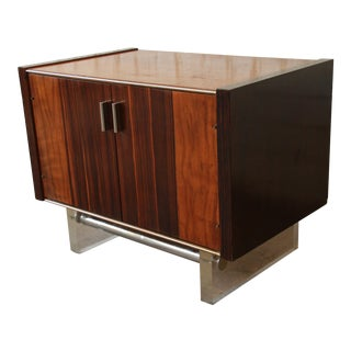 Milo Baughman Style Rosewood & Lucite Floating Nightstand