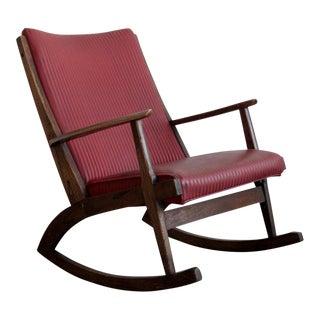 1970s Walnut & Red Striped Rocking Chair