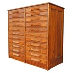 Image of Antique Oak Double Drawer Printer's Cabinet