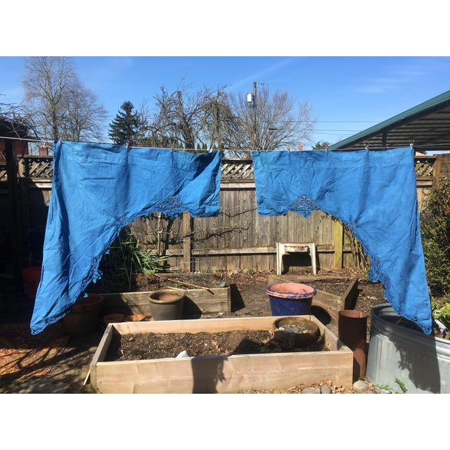 Vintage Linen Indigo Dyed Cafe Curtain Set - A Pair - Image 2 of 7