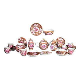 Chinese Export Coral and Puce Porcelain Tea Service