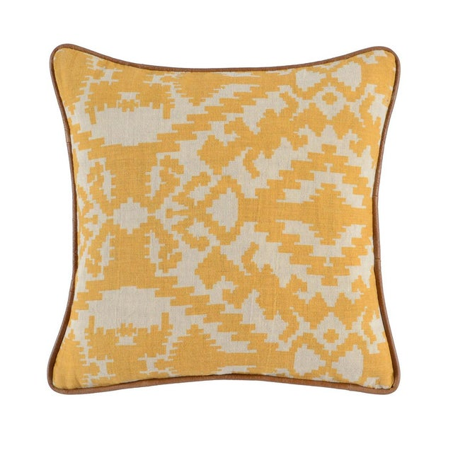 Yellow Abstract Linen Pillow - Image 2 of 2