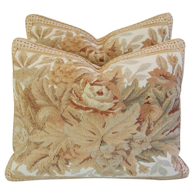 Custom Aubusson Tapestry Pillows - A Pair - Image 1 of 11