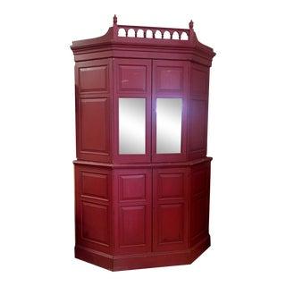 Rustic Red Corner Cabinet