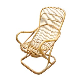 Franco Albini Mid-Century Wicker Bentwood Chair