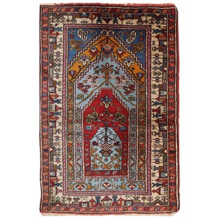 "1950s Handmade Vintage Prayer Turkish Konya Rug 2'6"" X 4'3"""