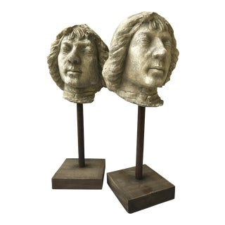 Mounted Ceramic Roman Heads - A Pair
