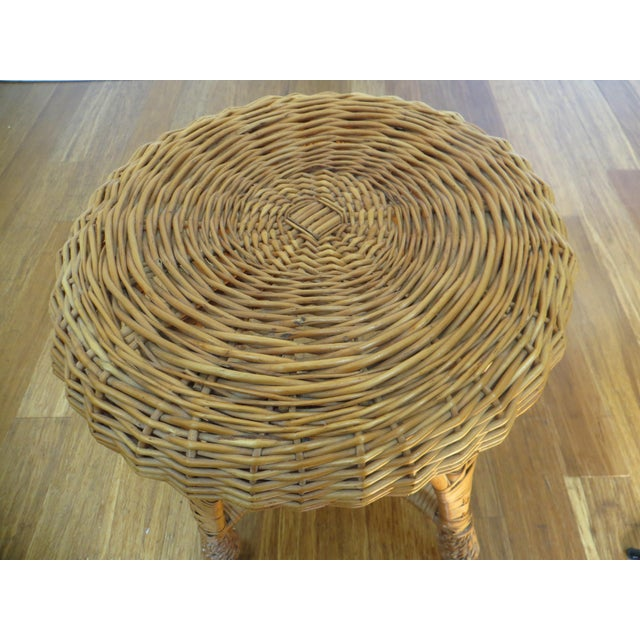 Round Wicker Coffee Table With Stools: Vintage Round Woven Rattan Wicker Stool Or Plant Stand