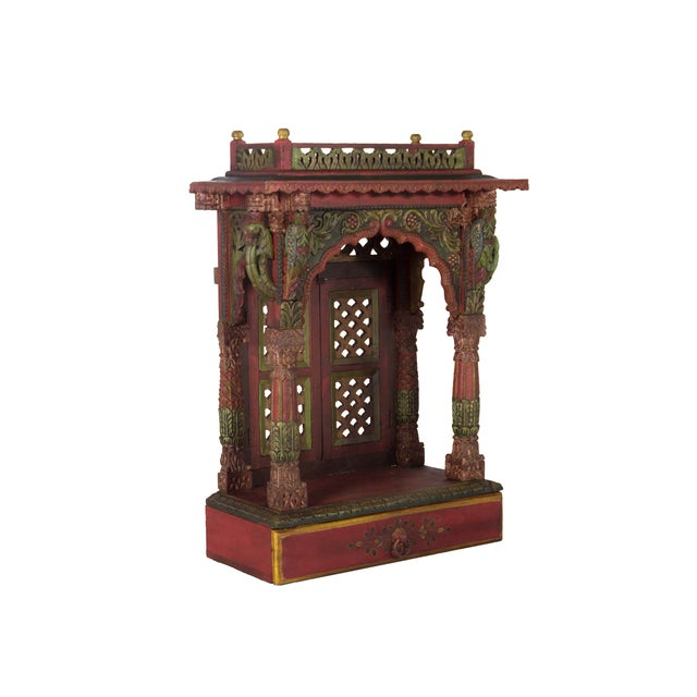 Teak Wood Hand Painted Pooja Mandir - Home Temple Mandapam - Image 2 of 6