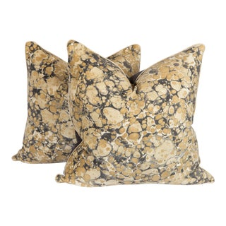 Gray & Gold Velino Velvet Pillows - A Pair