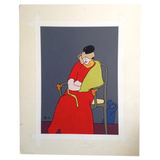 Blindfolded Woman Gouche Painting