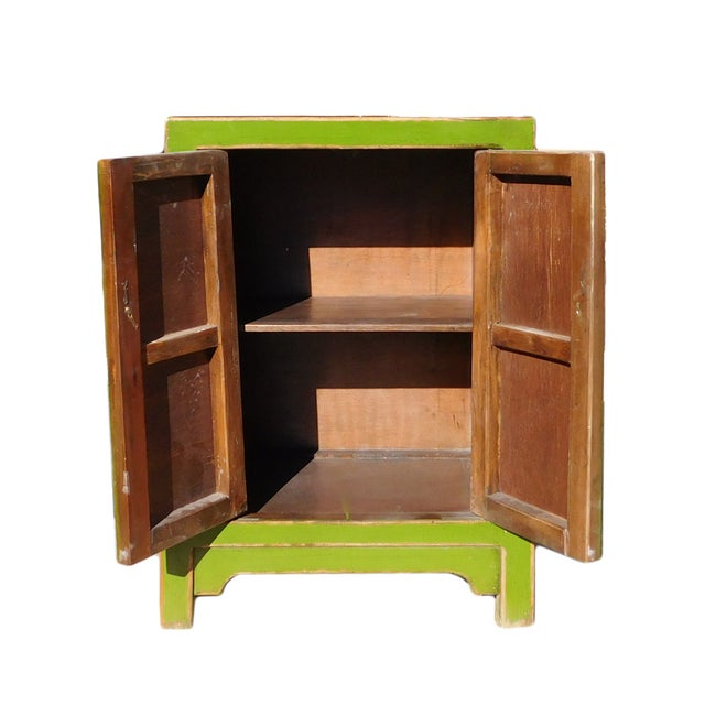Chinese Rustic Lime Green End Table Nightstand - Image 5 of 6