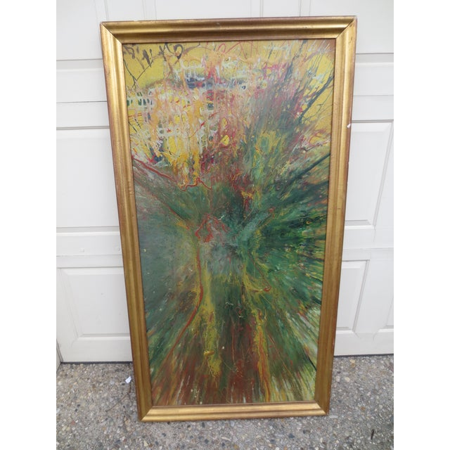 Large Colorful 1960s Abstract Oil - Image 2 of 8
