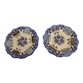 French Hand-Painted Faience Plates - A Pair