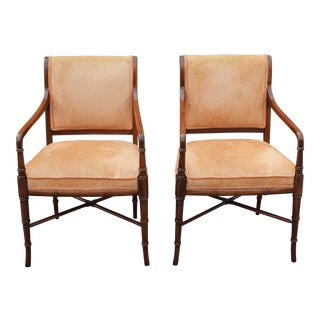 1950's Mid-Century Modern Faux Bamboo Armchairs - A Pair