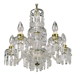 Circa 1940s Lightolier Cut-Crystal Five Arm Chandelier