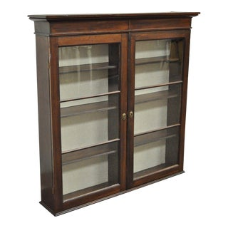 Antique American Colonial Glass Front Mahogany Display Cupboard