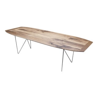 Modern Walnut Dining Table With Geometric Steel Base
