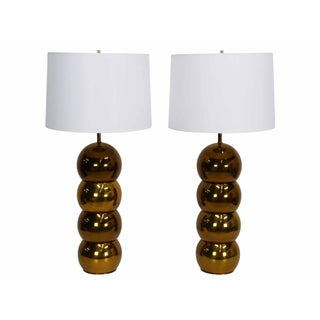 George Kovacs Brass Stacked Ball Lamps - A Pair