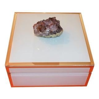 Ivory Glass & Amethyst Trinket Box