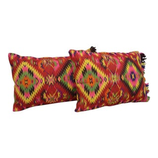Vintage Turkish Kilim Rug Pillow Covers - a Pair 20″ X 28″