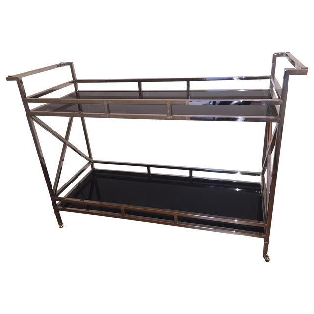 Silver and Black Glass Contemporary Console Table - Image 1 of 5