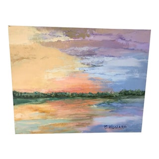 Vintage Sunset Painting, Signed