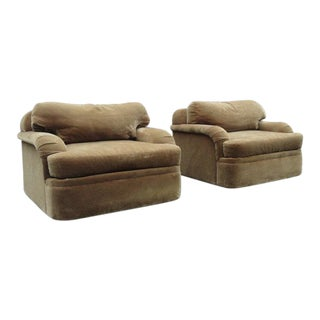 Thayer Coggin - Milo Baughman Style Oversized Mohair Club Chairs - A Pair