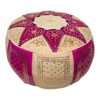 Marrakech Fuchsia Leather Pouf