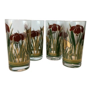 Mid-Century Vintage Iris Cinnabar Glasses - Set of 4