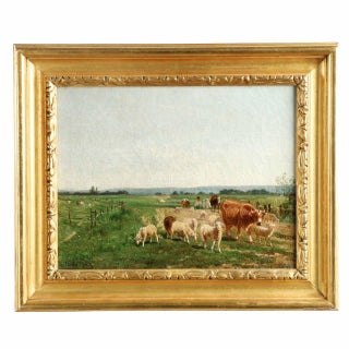 "Emil Van Marcke ""Herding in the Cows and Sheep"" Painting"