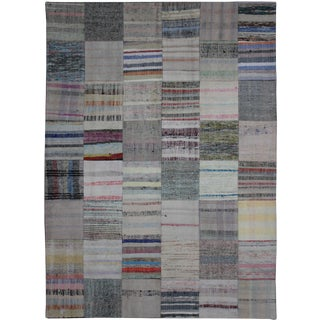 """Hand Knotted Antique Patchwork Kilim - 7'10"""" X 5'6"""""""