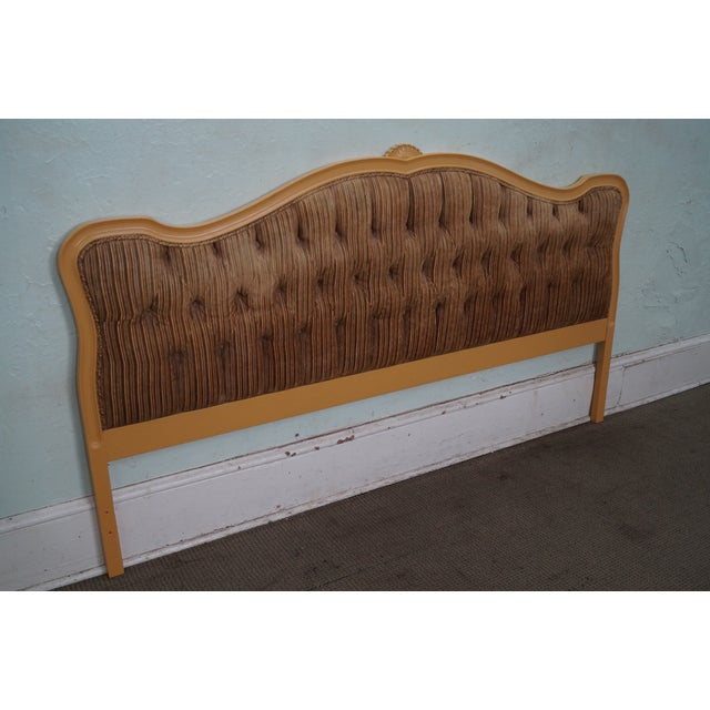 Vintage French Louis XV Style Tufted Upholstered King Headboard - Image 8 of 10