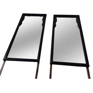 Chin Hau'An Century Furniture Black Lacquer Asian Mirrors - a Pair