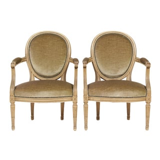 Vintage Louis XVI Distressed Armchairs - A Pair