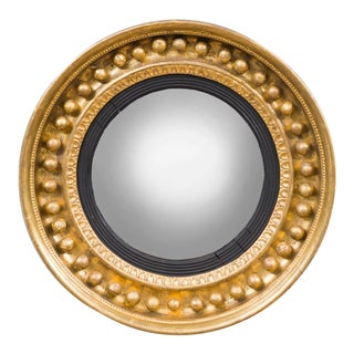 Antique Regency Period Giltwood Convex Mirror