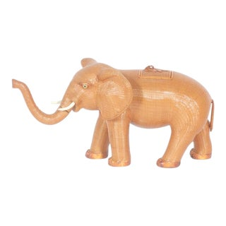 Amusing Midcentury Wicker Elephant Box