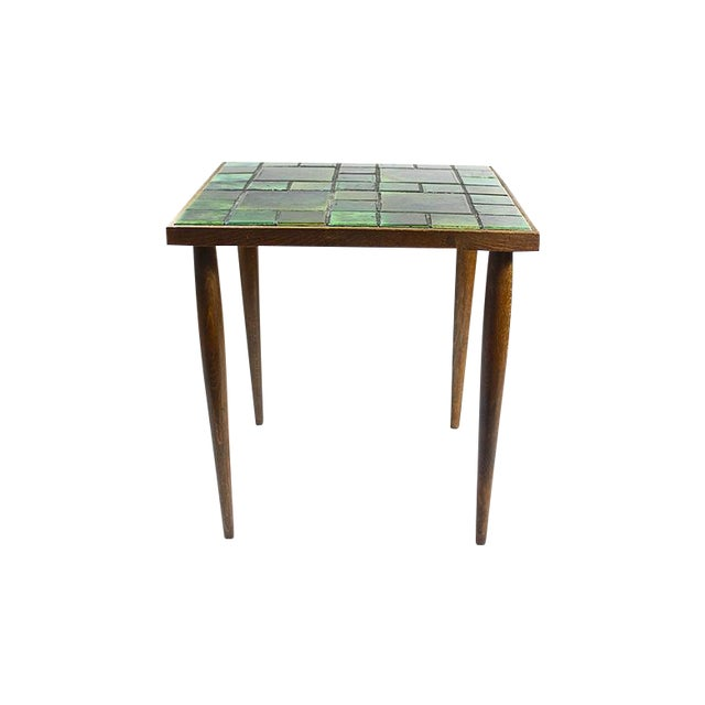 Image of Mid-Century Green Tile Top Walnut Side Table