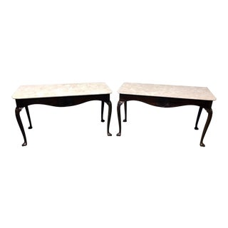 Kittinger Mahogany & Marble Queen Anne Mixing Tables or Servers - a Pair