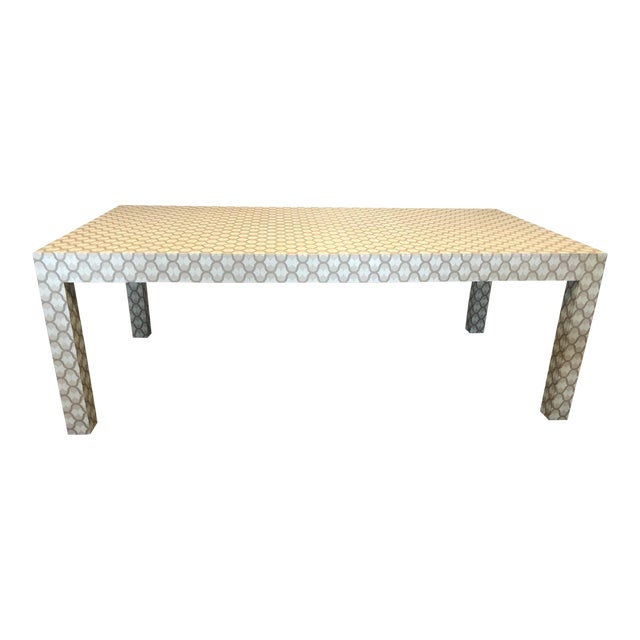 Custom Designed Holland & Sherry Grasscloth Wrapped Parsons Style Dining Table - Image 1 of 5
