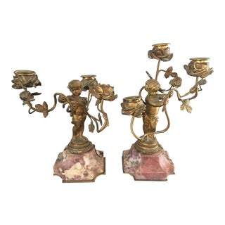 Antique Gilt Bronze Marble Putti Cherub Candle Holders- a Pair